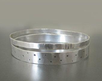 Silver Bracelet Set, Sterling Silver Bracelet, Bracelet Set, Sterling Silver Bangle, Hammered Silver Bracelet, Hammered Bangle, Bangles