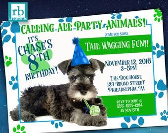 Puppy Party Invitation, Puppy Birthday, Puppy Birthday Invitation, Puppy Party Invites, Dog Party, Party Animal - Digital Printable