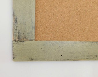 Framed Bulletin Board / Cork Board Vintage Look Distressed Wood Shown in Sage Extra Large 30 x 40 *MORE COLORS AVAILABLE*