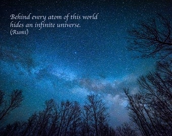 Rumi Quote, Inspirational Poetry, Greeting Card, Milky Way, Night Sky, Starry Night, Blue, Stars, Healing Art, Astro Photography, Galaxy