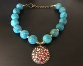 Blue Sponge Coral and Coral Inlaid Pendant Necklace