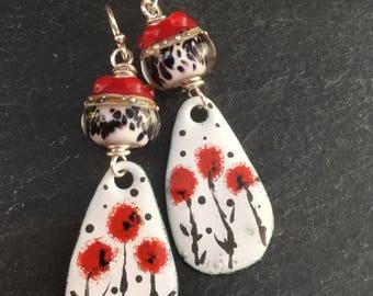 Red Poppy Earrings, Enameled Copper Dangle Earrings, Flower Earrings, California Poppy, Copper Earrings, Artisan Lampwork, Boho