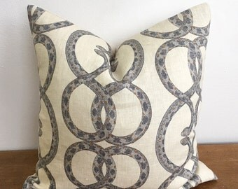 Dwell Studio Snake Chain in Dove with Natural Linen Backing Pillow Cover // 16 x 16