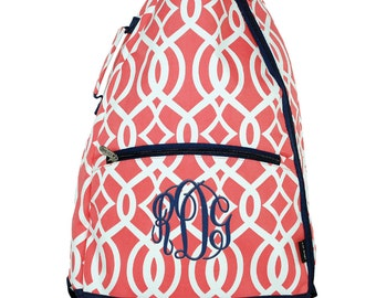 Tennis Racquet Bag | Personalized Tennis Racquet Backpack | Monogrammed Tennis Backpack | Racket Case | Canvas Backpack | Coral Vine