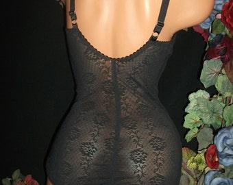 """Vtg 80 Silky sheer Open body gussy shaper bra pantie bodysuit girdal lingerie 36"""" S"""