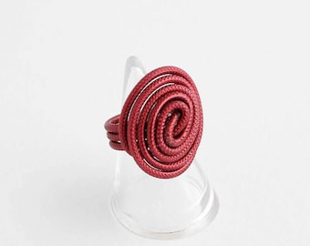 Dark red wire ring