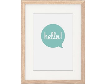 A4 Print – Hello. Wall Art. Digital Illustration. Entrance Artwork. Hello Print. Quote Print. Hello Artwork. Simple. Speech Bubble. Greeting