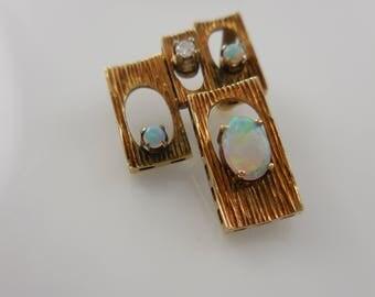 Pendant  14k Yellow  Gold Diamond and Opal Pendant