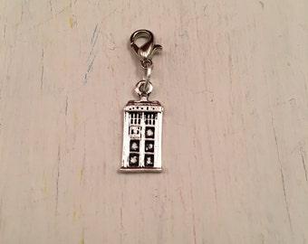 Jot Charm - Tiny Tardis (silvertone)