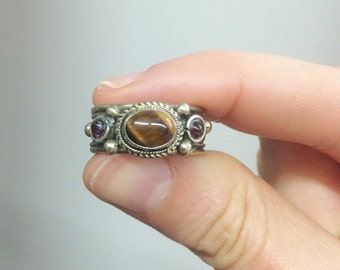 Tibetian vintage  Gemstone Adjustable ring Bohemian jewelry Gypsy jewelry