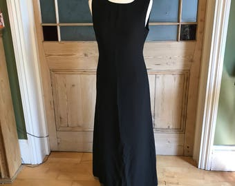 Vintage Laura Ashley sleeveless black silk maxi dress UK 10
