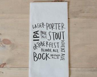 Bar Towel, Beer Types,  present, housewarming, men's towel, kitchen decor, men's gift, flour sack dish cloth