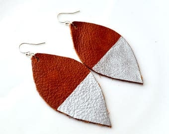 Brown Hand Painted Silver METALLIC Leather Petal Earrings- Brown Leather Earrings- Metallic Leather Earrings-Big Leather Earrings