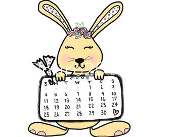 June 2017 Bunny Calendar Printable