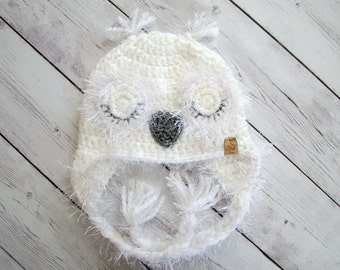 Crochet Pattern - Snowy Owl Hat - Girl/Women