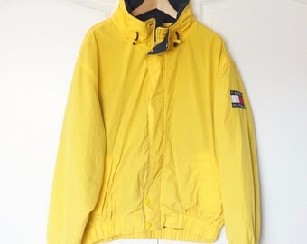 TOMMY HILFIGER 90's Yellow Colorblock Vintage Sailing Windbreaker Jacket XL