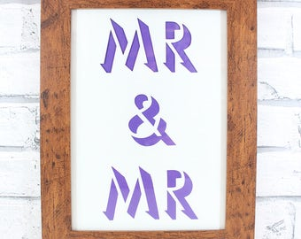 PAPERCUT - Mr & Mr shadow lettering original papercut wedding gift by QueenieDot