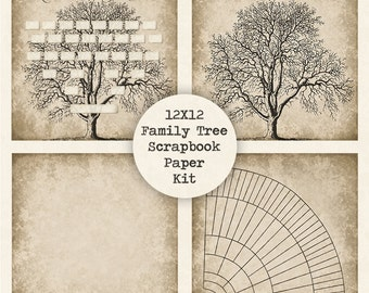 Family Tree Digital Scrapbook Paper Kit, Instant Download, 12x12 Papers, Fan Chart, Vintage Antique, Ancestry Genealogy, Printable Template
