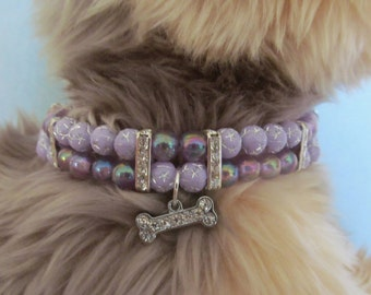 Dog/Cat Collar Necklace Lilac Sparkle Beaded, Beaded Pet Collar, Cat Collar Bling, Dog Collar Bling,Beaded Dog Collar
