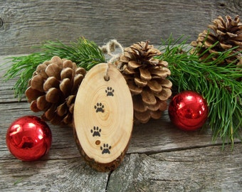 Wooden Christmas Tree Ornament with Cat Tracks. Cat Lover Christmas Ornament. Gift for Cat Lover. Cat Tree Ornament. Rustic Tree Ornament.