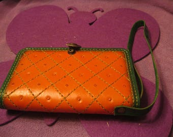ORANGE and Green LEATHER PHONE Wallet