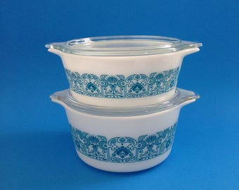Pyrex Horizon Blue Pattern Casserole Dishes 473 and 472
