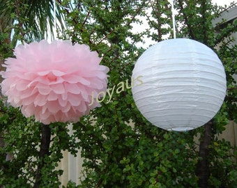 Pink Pom Poms & White Paper Lanterns for Wedding Engagement Anniversary Birthday Party Bridal Baby Shower Decoration