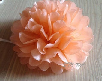 12x Peach mini tissue paper pom pom | Wedding Baby shower Party Engagement Bridal Shower Table Centerpiece Decoration