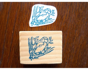 Chickadee bird hand-engraved stamp