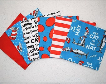 "30 Dr. Seuss 6"" Cat In The Hat 6 diff prints Quilt Fabric Squares Turquoise"