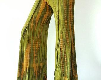 YG0008 Tie Dye Stretch Wide Leg Yoga Pants High Waist, Tie Dyed Yoga Pants Fold-over Waist Wide Leg