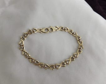 """14k Yellow Gold Vintage X Link Italy 7.5"""" Bracelet-On Sale Now!"""