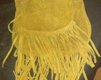Vintage brown fringed suede leather hippie boho shoulder bag purse