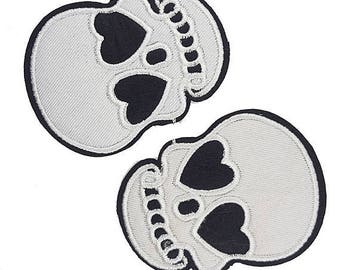 Iron on Skull Embroidered Patch Applique, Gucci Skull Style Patch Applique