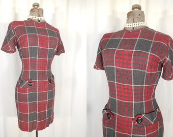 Vintage 1950s Dress - Bombshell Rockabilly 50s Red Plaid Wiggle Dress Small