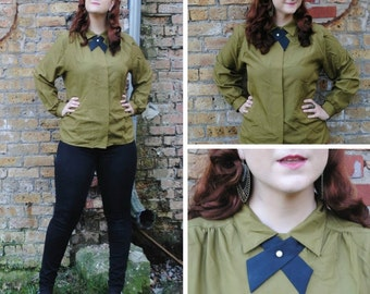 Olive Green Bow Tie Blouse