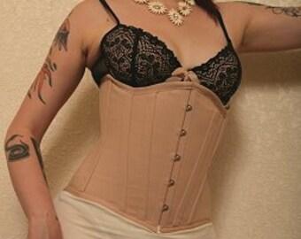 "The Ultimate Waist Training Corset in Herringbone/Coutil Cotton Fabrics -XXSMALL (20"") --- 6XLarge (40"") by Fyrechylde"