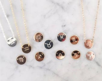 Amber - Gold, Silver or Rose Gold Horoscope Necklace