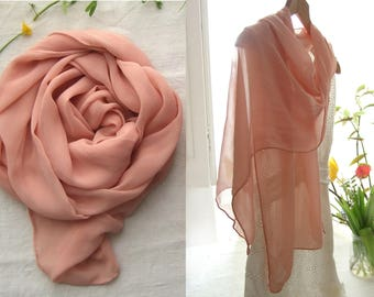 Silk scarf, Blush pink scarf, botanical dyeing, natural dye, ethical fashion, original gift, gift for her, made in France by Dyeing2meetU