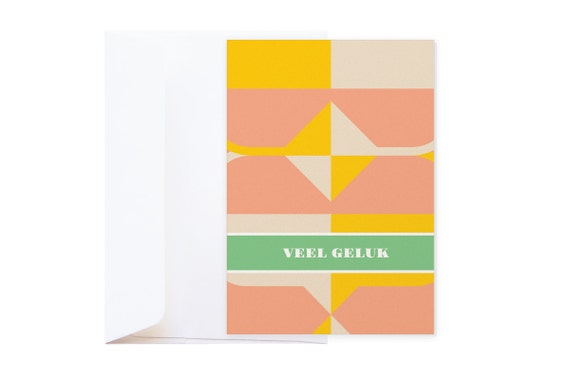 SOLDEN // -50% // Veel geluk Dubbele Wenskaart // Grafische kaart op parelmoer metallic glanzend papier
