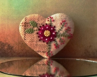 Hand Made Brooch Felted Wool Crazy Patchwork Heart with Embroidered Pink Flowers & Green Vines