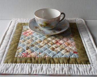 Handmade Table Topper Cotton Quilted Shabby Chic Placemat OOAK