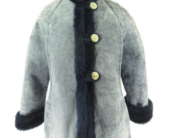 Golden Fleece Real Horn Sheepskin Shearling Coat Jacket Womens L Deadstock [H33E_4-2_Fur]