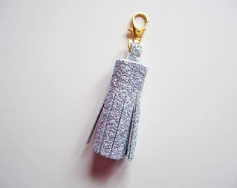 Grey Glitter Tassel Keychain, Sparkly Grey Tassel Keyring, Glitter Keychains, Sparkly Tassel Charm, Light Grey Glitter Tassels,