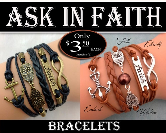5 strand Bracelets - YW 2017 Ask of God Ask in Faith Young Women Theme Jewelry Charms New Beginnings, Missionary, Christmas, Birthday gifts