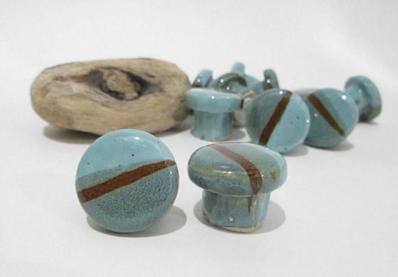 Door knobs round ceramic cabinet knobs handmade door knobs in for Turquoise door knobs