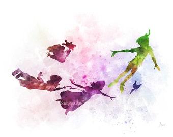 Peter Pan inspired ART PRINT illustration, Tinker Bell, Wendy, Disney, Wall Art, Home Decor