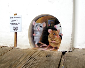 No Cats! Scaredy Mice Mousehole Wall Sticker
