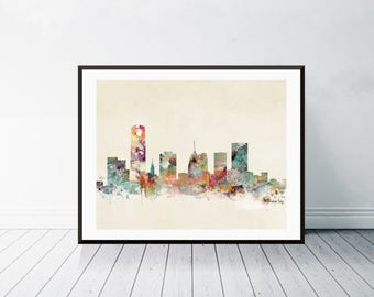 oklahoma city oklahoma. oklahoma city skyline. oklahoma cityscape. colorful watercolor skyline. Giclee art print.color your world with bri.