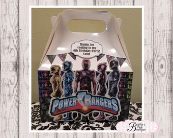 Power Rangers party favor box, Power Rangers gable box, 10 Power Rangers party favor gable box, Power Rangers favor box